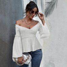 Bell Sleeve Shirred Bardot Top