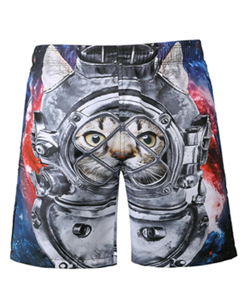 Cool Cat in Machine Pattern 3D Beach Shorts