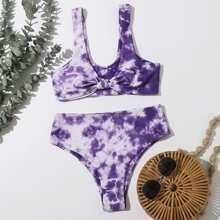 Bikini Badeanzug mit Batik und Knoten vorn