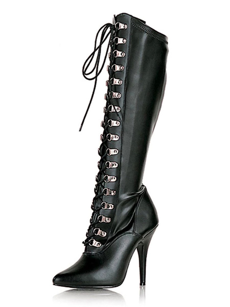 Milanoo Sexy High Heel Boots Pointed Toe Sequins Stiletto Heel Rave Club Black Over The Knee Boots