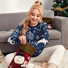 Weihnachten Pullover mit rundem Kragen