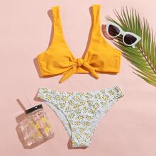 Ditsy Floral Knot Front Bikini Swimsuit