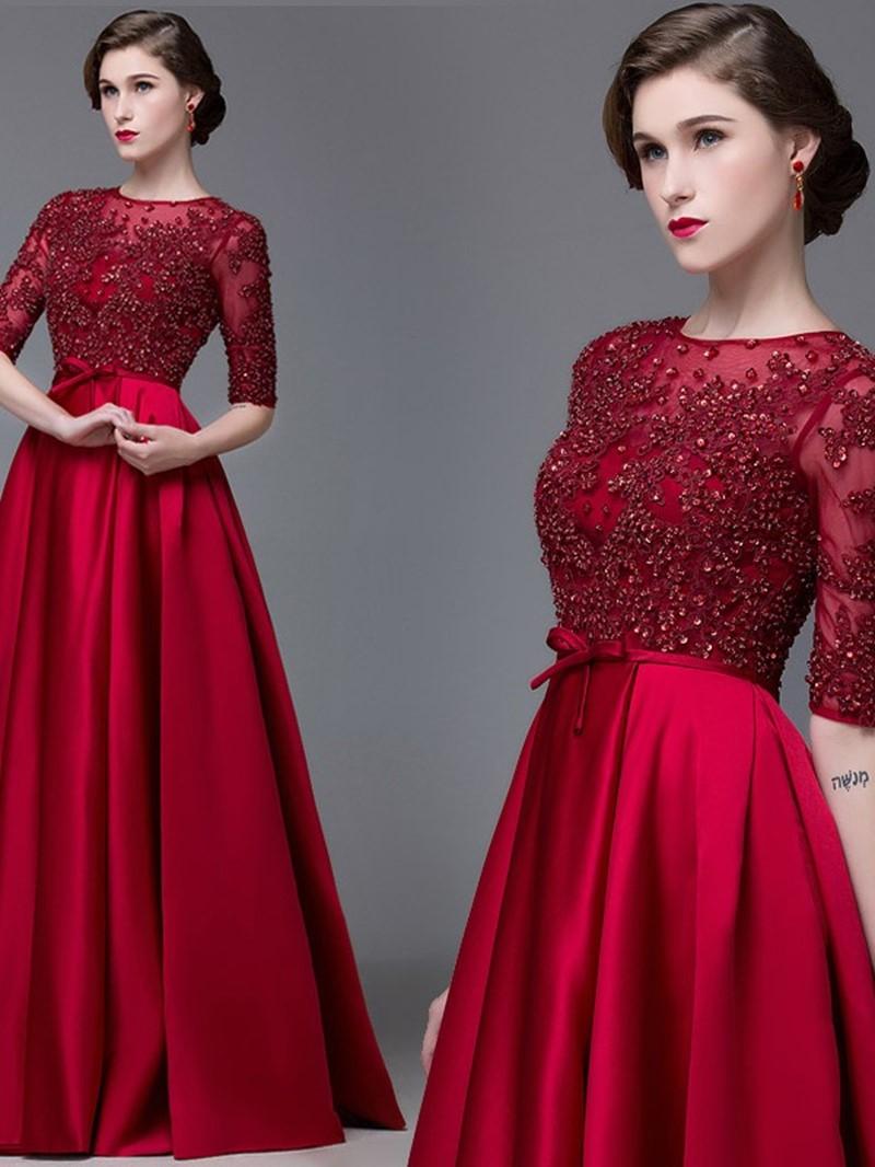 Ericdress Jewel Neck Half Sleeves Appliques A-Line Long Evening Dress