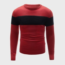 Men Colorblock Round Neck Sweater