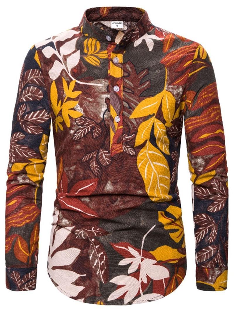 Ericdress Casual Button Color Block Mens Slim Shirt