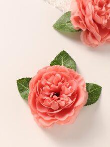 1pc Toddler Girls Flower Decor Headband & 1pc Hair Clip