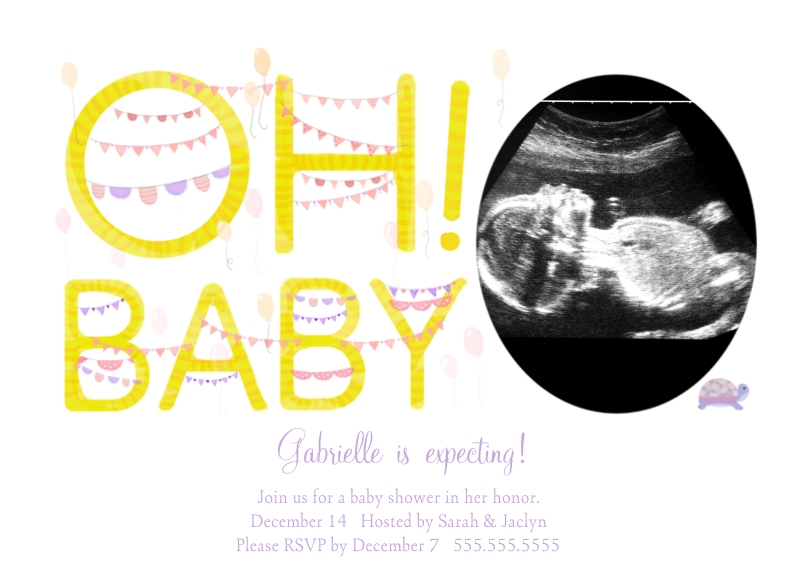 Baby Shower Invitations 5x7 Cards, Standard Cardstock 85lb, Card & Stationery -Oh! Baby Balloons Girl