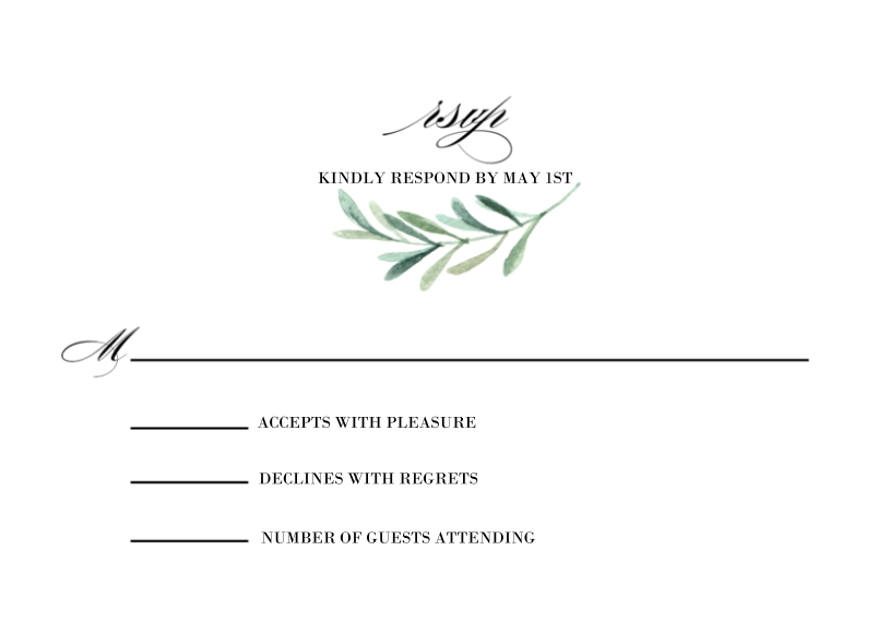 Matching Suites 3.5x5 Flat Notecard, Card & Stationery -Wedding RSVP Greenery by Tumbalina