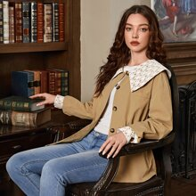 Contrast Guipure Lace Collar & Cuff Drawstring Waist Coat