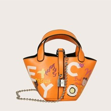 Cartoon Graphic Chain Satchel Bag