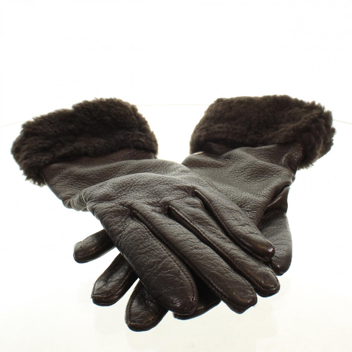 Ugg \N Handschuhe in  Braun Leder