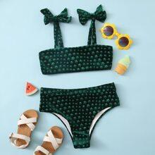Girls Star Pattern Velvet Tie Shoulder Bikini Swimsuit