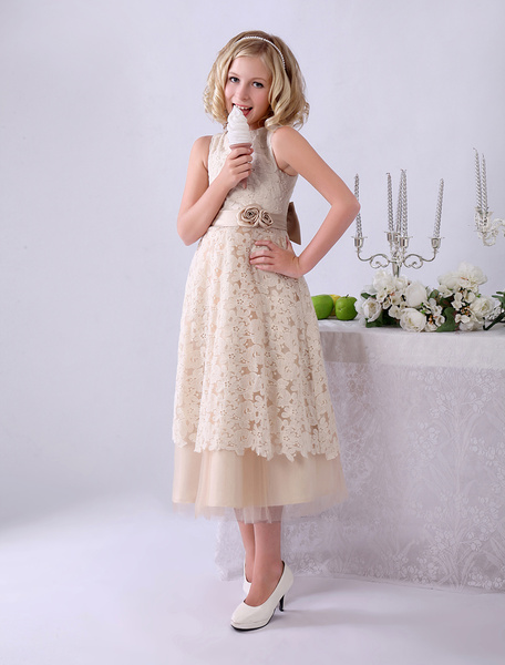 Milanoo Champagne A-line Bow Lace Wedding Flower Girl Dress with Jewel Neck
