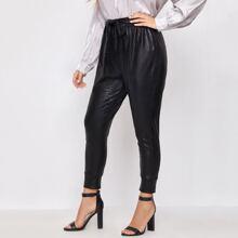Plus Crocodile Belted PU Leather Pants