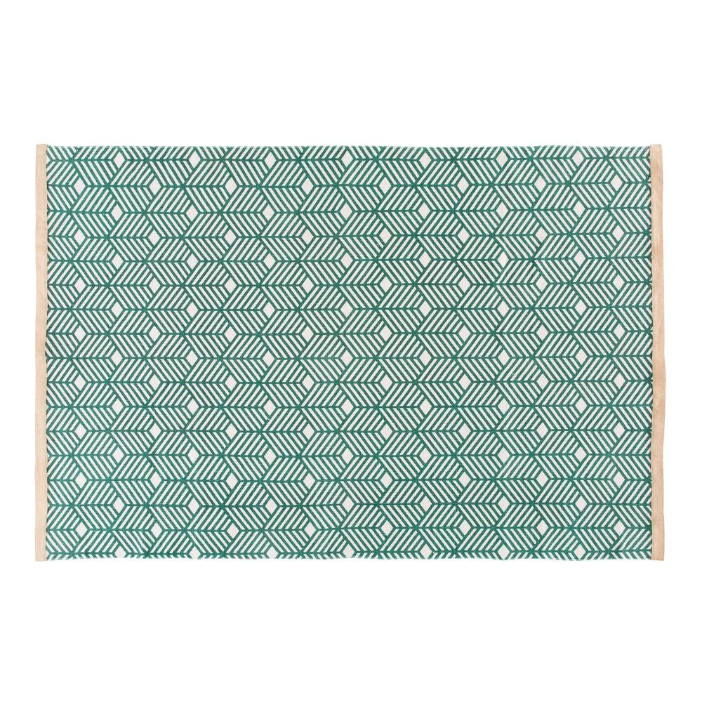 Gruener Baumwollteppich mit grafischen Motiven 160x230
