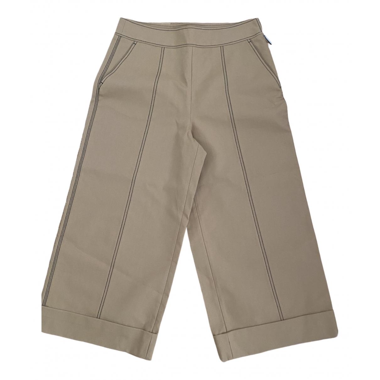 Msgm \N Beige Cotton Trousers for Women 44 IT