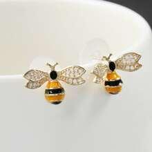 1pair Bee Shaped Stud Earrings