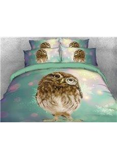 Vivilinen 3D Adorable Owl Printed 4-Piece Blue Bedding Sets/Duvet Covers