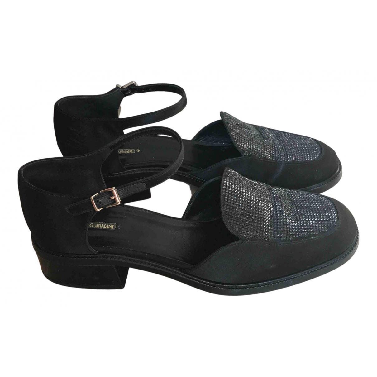Giorgio Armani N Black Cloth Flats for Women 37.5 EU