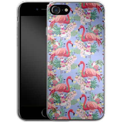 Apple iPhone 8 Silikon Handyhuelle - Flamingo Tropical von Mukta Lata Barua