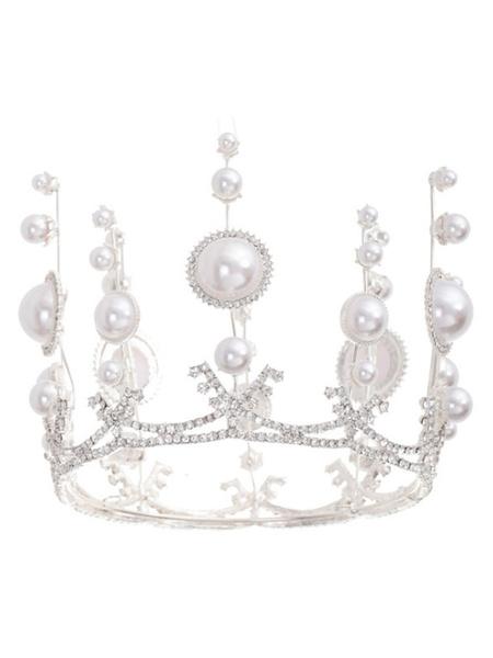 Milanoo Tocado de boda Tiara de perlas Accesorios para el cabello de novia de metal