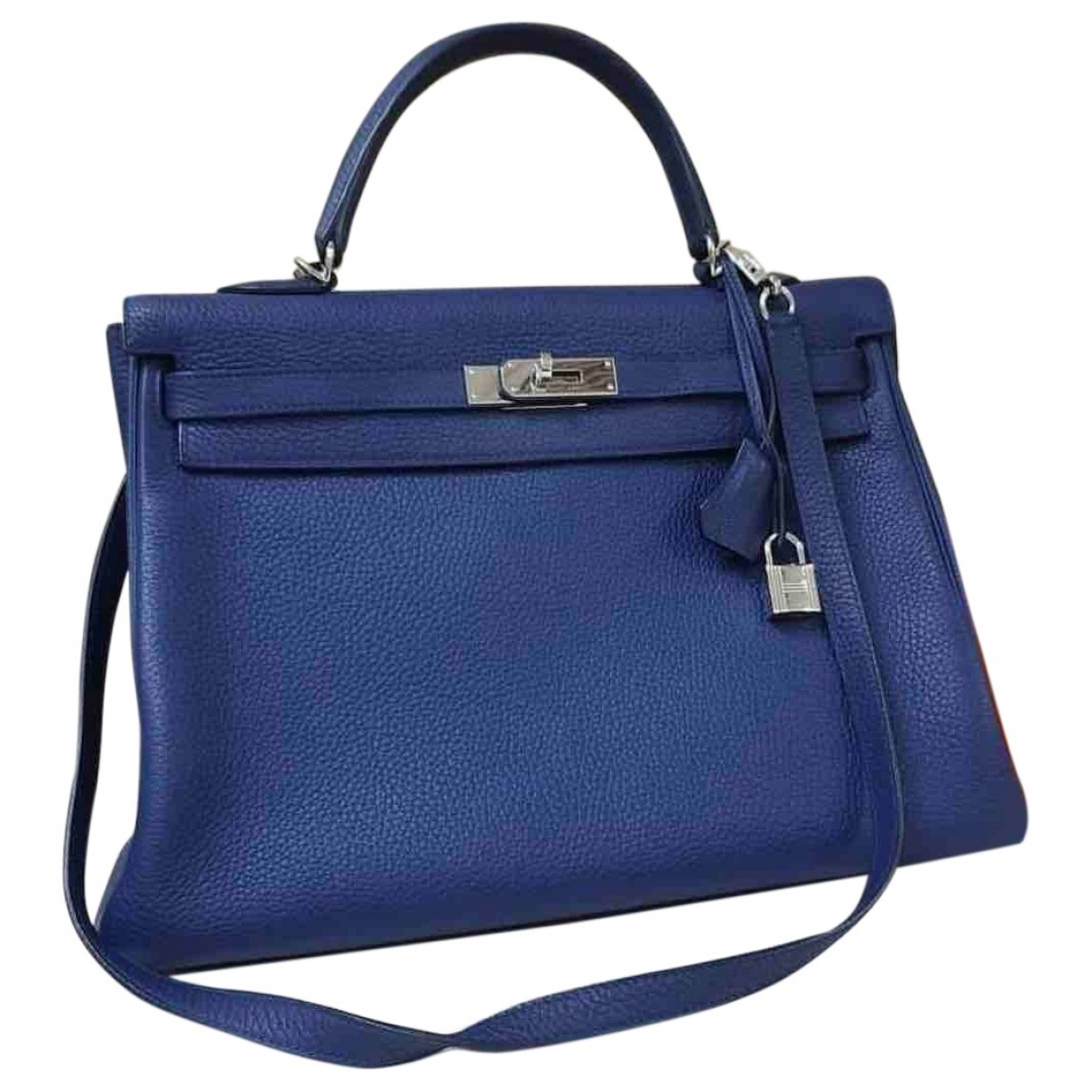 Hermes Kelly 35 Handtasche in  Blau Leder