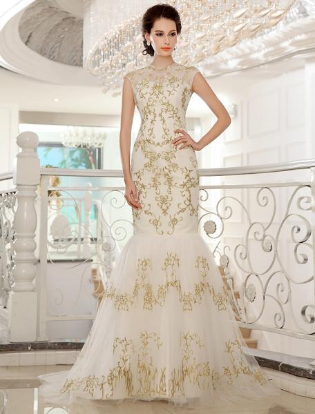Milanoo Vestido de novia de encaje de color marfil con escote redondo de estilo atractivo