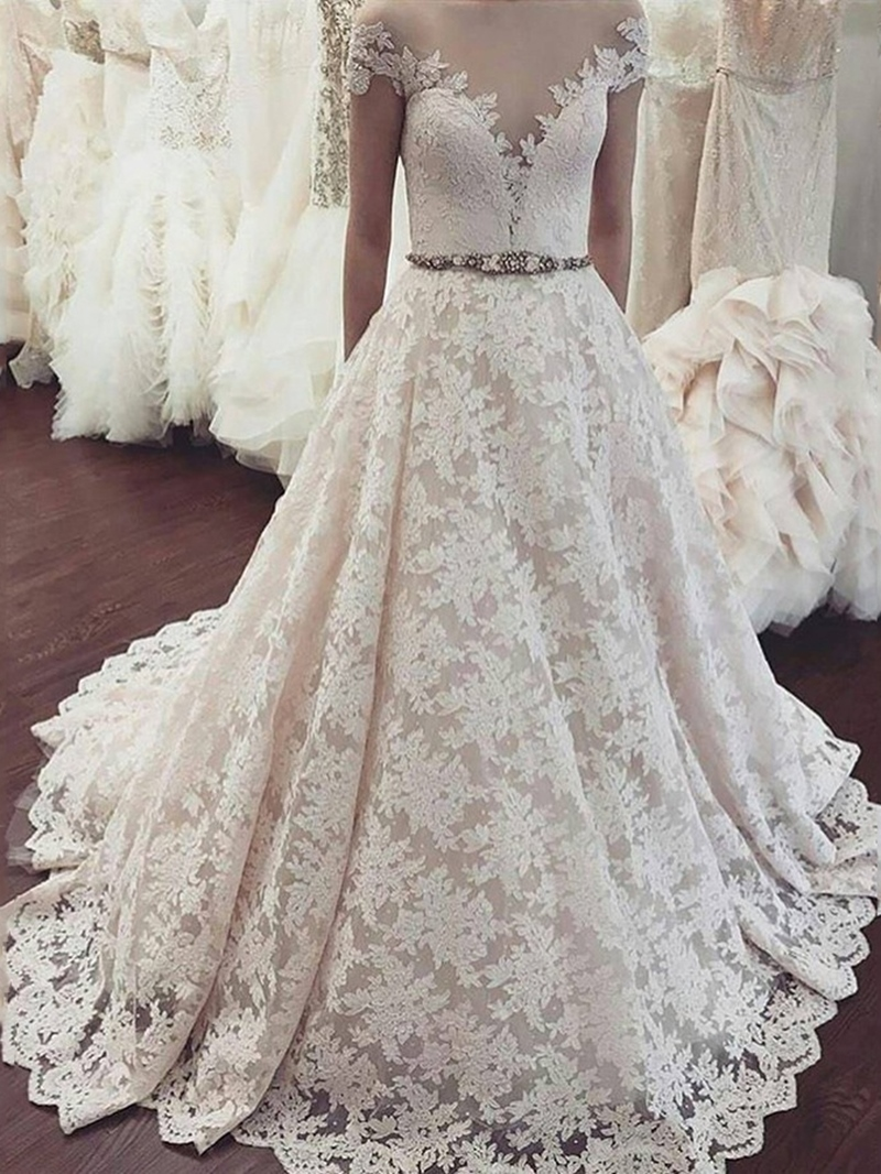 Ericdress Cap Sleeves Sheer Neck Beading Lace Wedding Dress