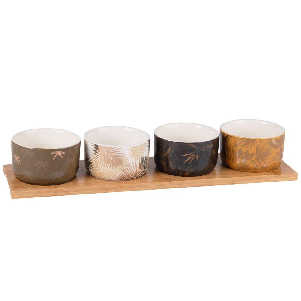 Aperitiftablett aus Bambus mit 4 Schalen aus Fayence, bedruckt mit tropischem Muster
