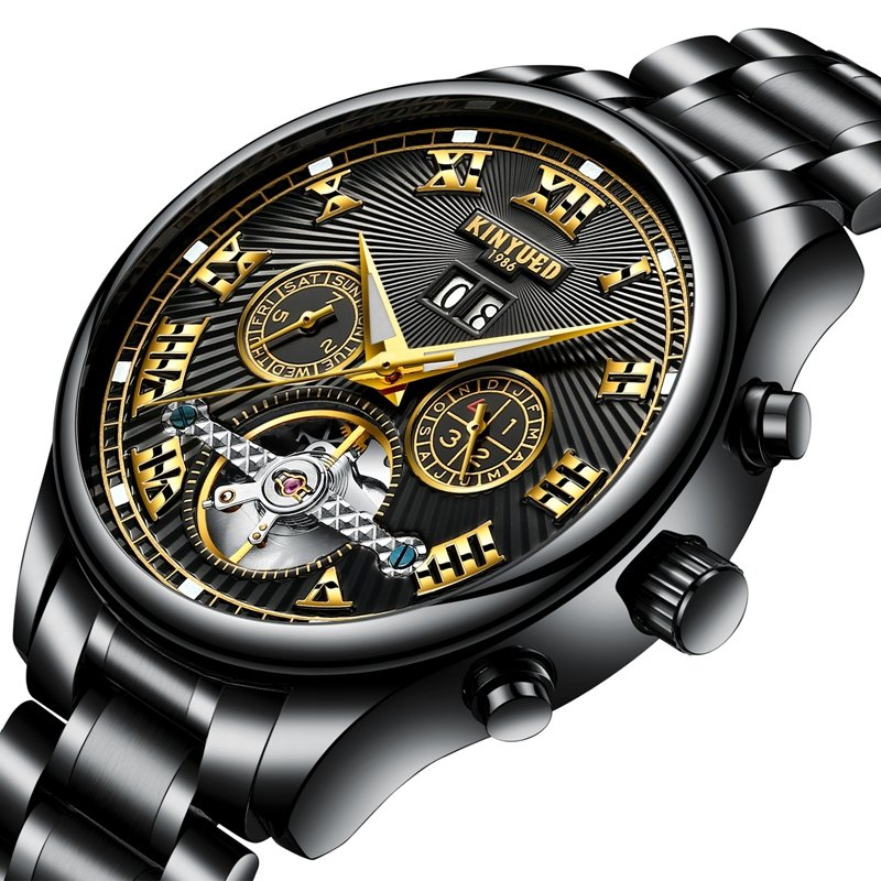KINYUED Automatic Mechanical Watches Roman Number Date Time Display Business Mens Watches