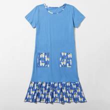 Blau Rueschensaum Cartoons  Suess Maedchen Loungewear