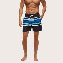 Shorts de natacion de hombres de rayas de cintura con cordon