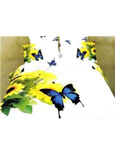 3D Sunflower and Blue Butterfly Printed Cotton 4-Piece White Bedding Sets/Duvet Covers