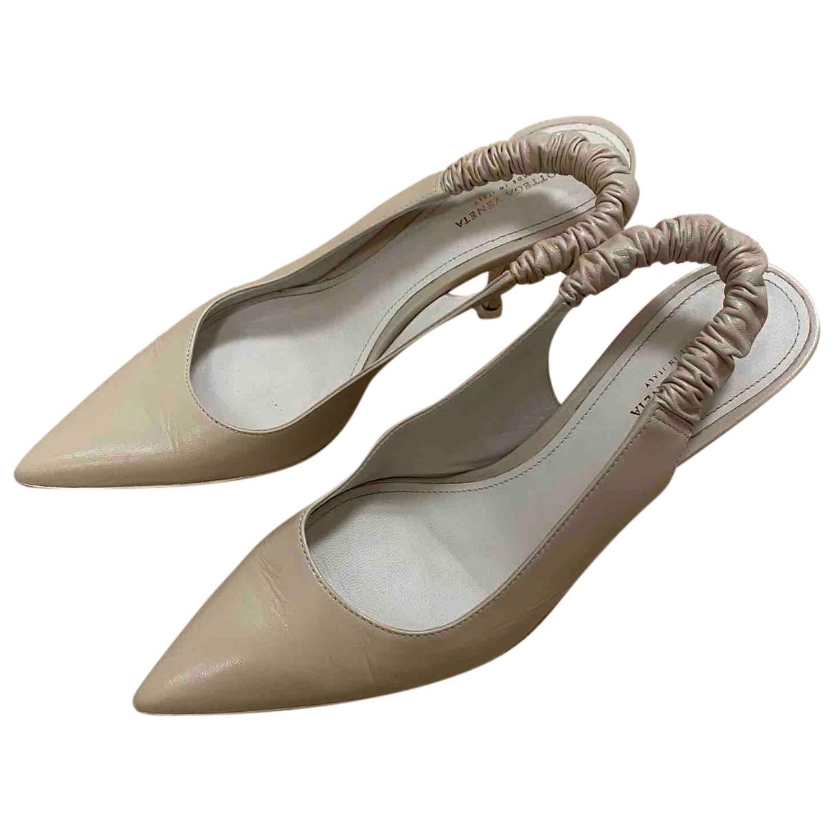 Bottega Veneta N Beige Leather Heels for Women 37.5 EU