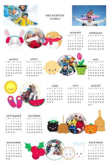Calendar 12x18 Adhesive Poster, Home Décor -Joy Emoji