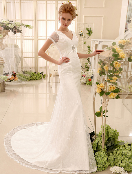 Milanoo Rhinestone Chapel Train Ivory Mermaid Wedding Dress with V-Neck Strapless