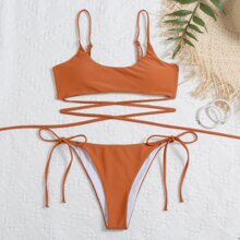 Criss Cross Tie Side Bikini Swimsuit