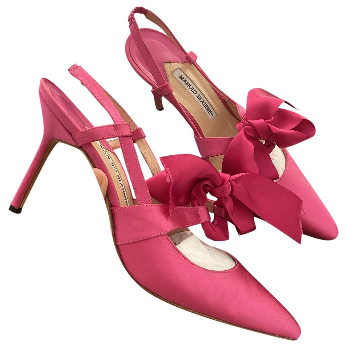 Manolo Blahnik - Escarpins   pour femme en toile - rose