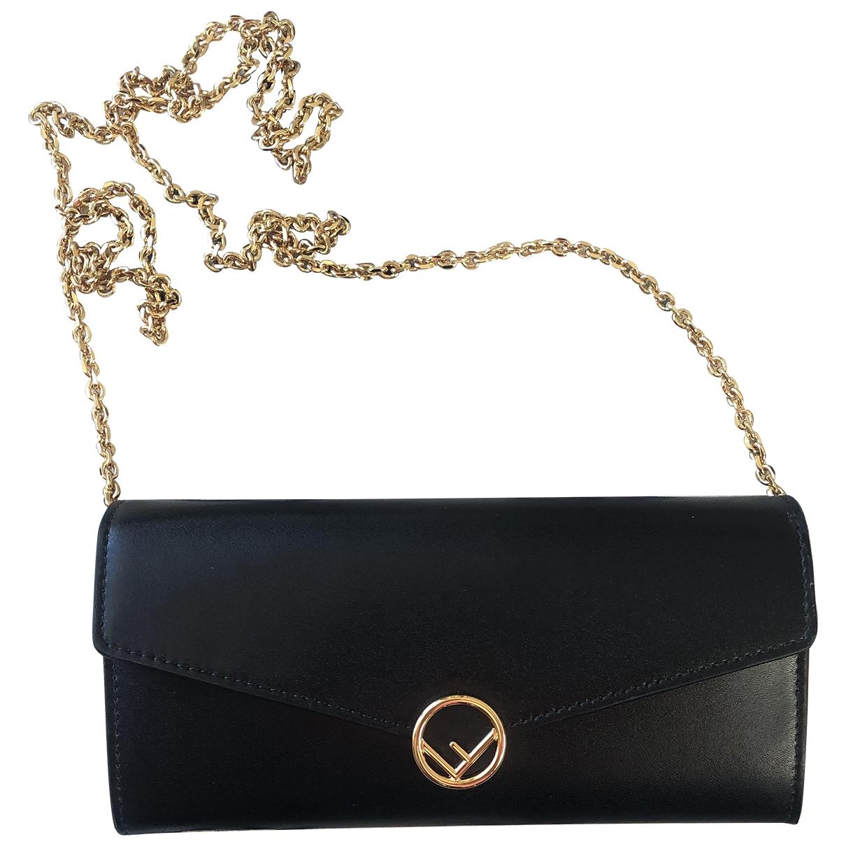Fendi - Pochette Kan I logo pour femme en cuir - noir