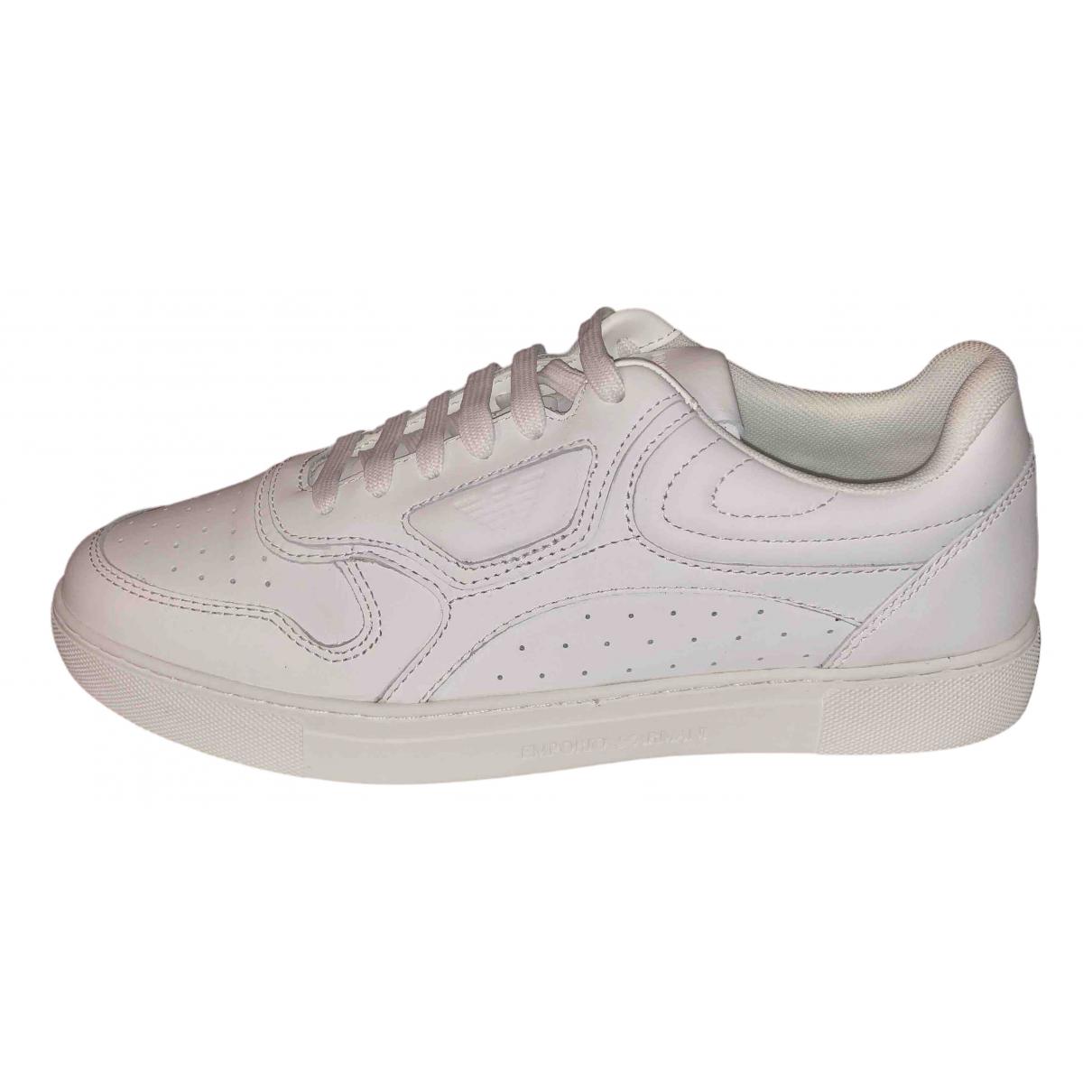 Emporio Armani \N White Leather Trainers for Women 40 EU