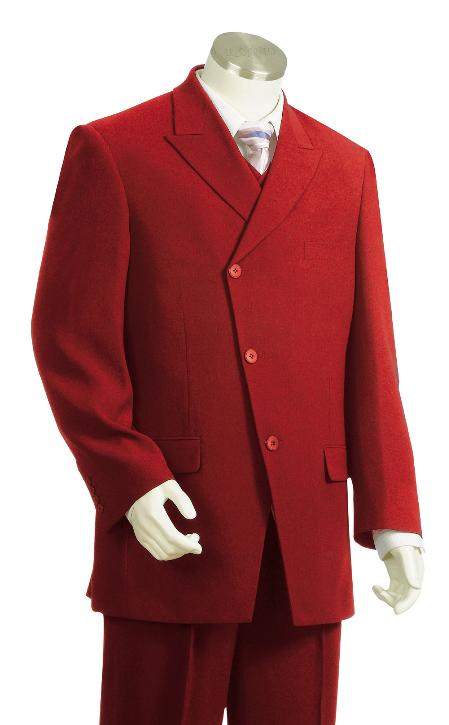 3 Piece 3 Button Red Vested Zoot Suit Mens