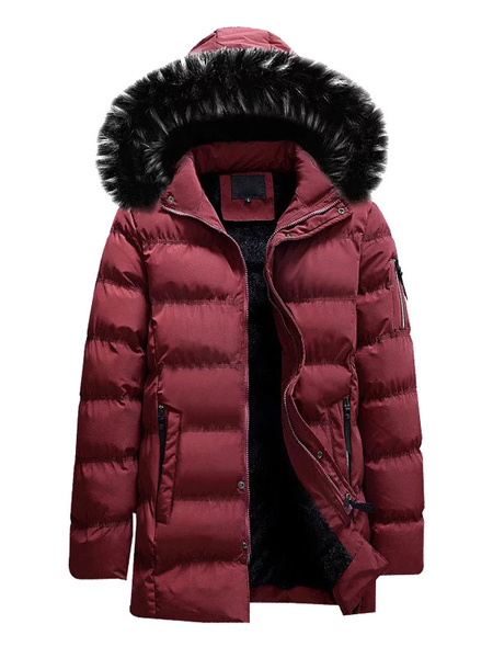 Milanoo Men Parka Coat Furry Hood Windbreaker Cotton Fill Plush Lining Winter Casual Overcoat