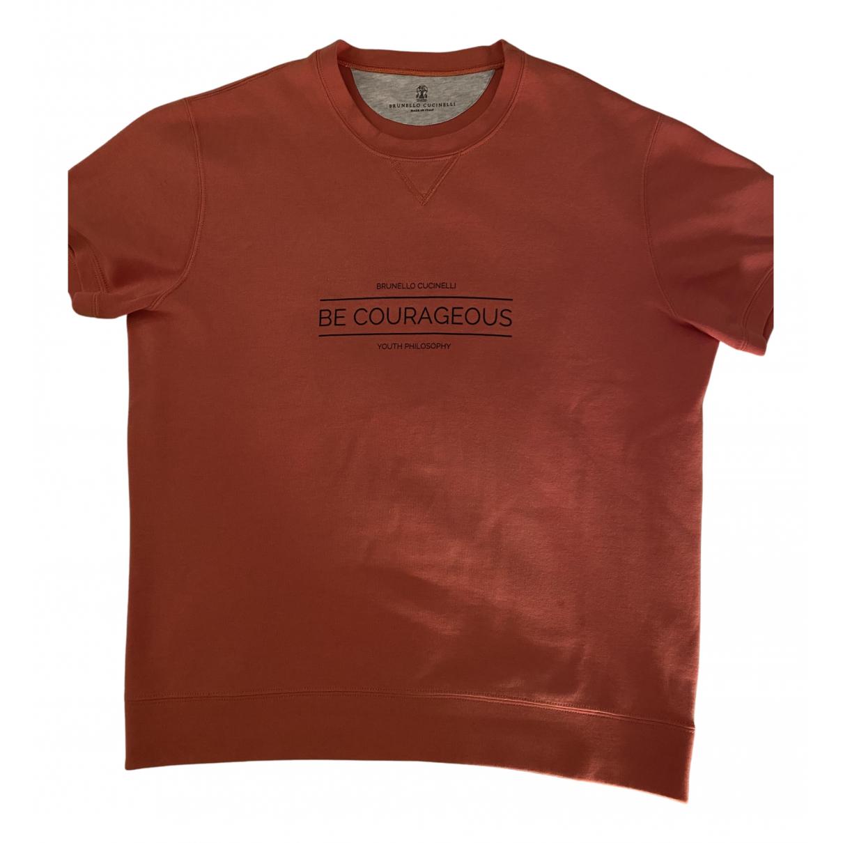 Brunello Cucinelli \N Pullover.Westen.Sweatshirts  in  Orange Baumwolle
