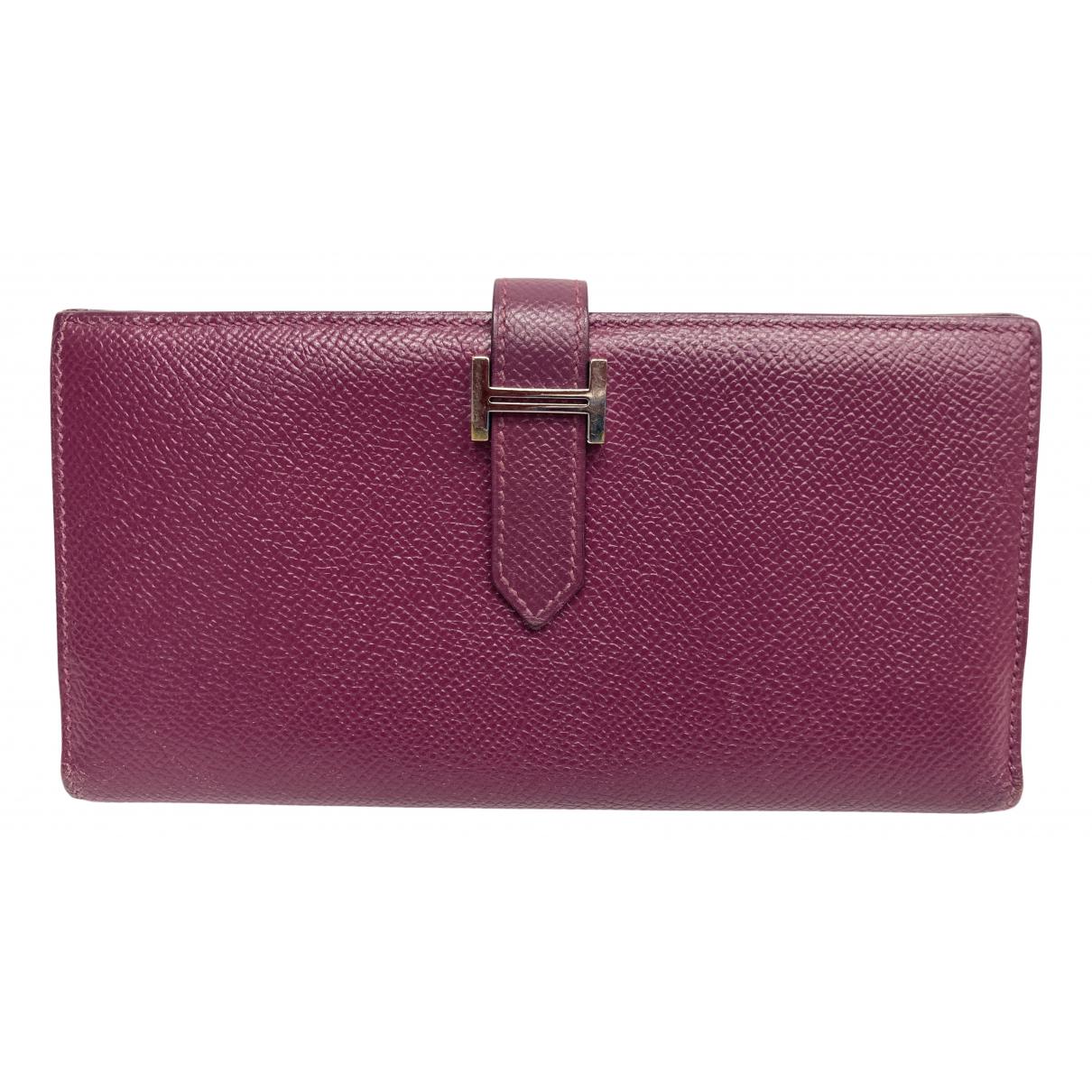 Hermes - Portefeuille Bearn pour femme en cuir - violet