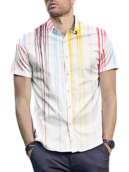 Yoins INCERUN Men Trendy Splash Print Street Style Casual Short Sleeve White Shirt