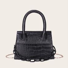 Tasche mit Kette Dekor und Krokodil Praegung