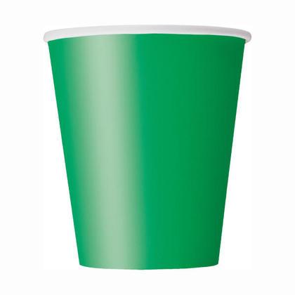 Tasses de papier de Vert émeraude solide 9oz 8Pcs