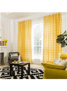 Contemporary Yellow Stripes Printing Cotton and Linen Blending Blackout Custom Double Pinch Pleat 60% Shading Rate Good Ultraviolet-proof Effect with