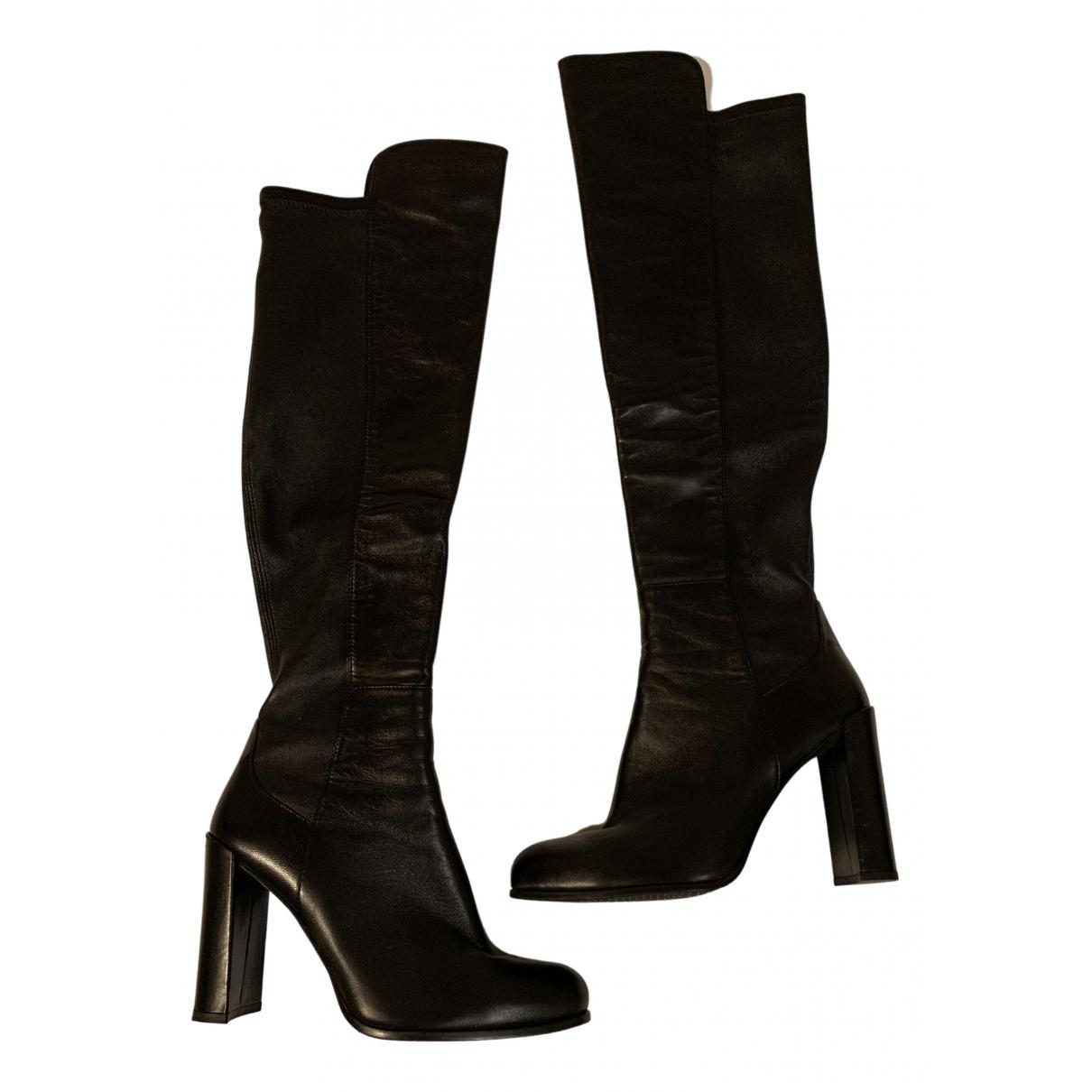 Stuart Weitzman N Black Leather Boots for Women 40.5 EU