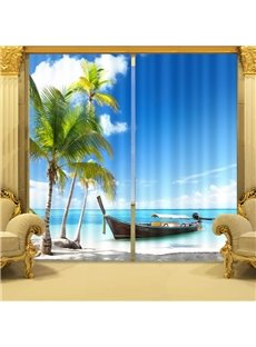 3D Coconut Trees and Boats on Blue Sea Printed Custom Curtain for Living Room